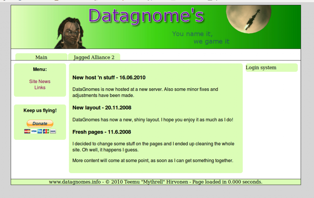 Original Datagnomes site from 2008